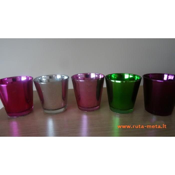 Vazonėlis spalvoto stiklo Tamsiai Alyvinis